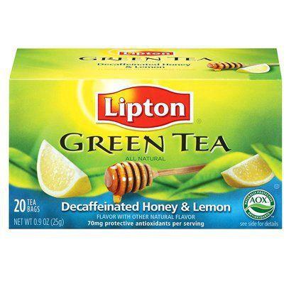 Lipton Decaffeinated Honey/Lemon Green Tea Bags  GREAT nighttime tea!
