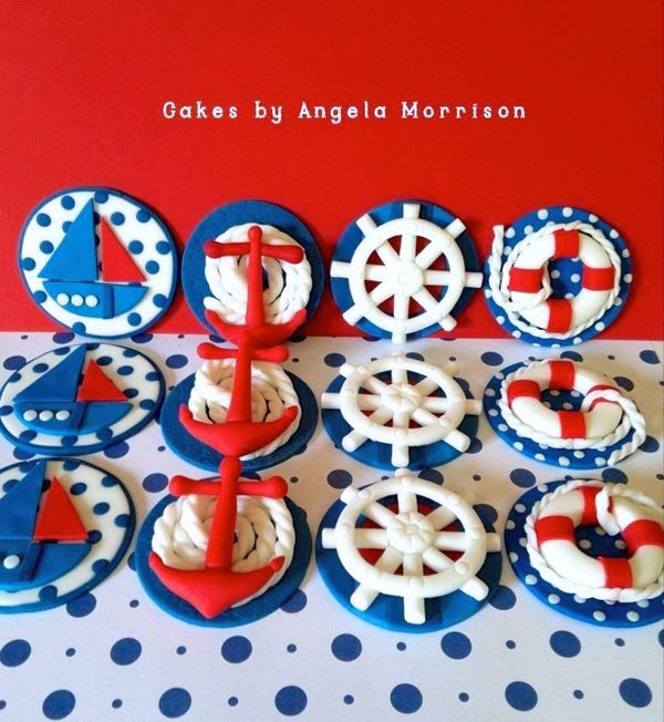 Nautical cupcake toppers by Angela Morrison of Cakes by Angela Morrison in the Sail Away Showcase | Satin Ice