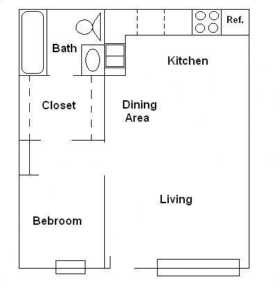 400 sq ft floorplan - 1 bedroom