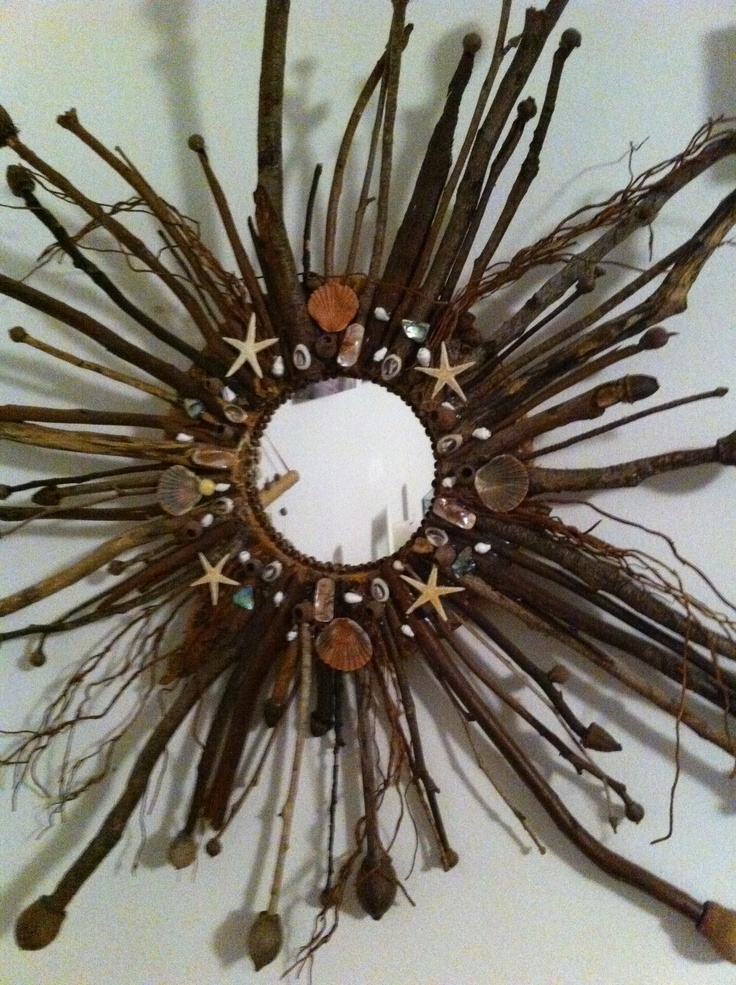 Mirror made from sticks and shells from Paradise point on the Gold Coast ! Made by Pip Wardlaw!