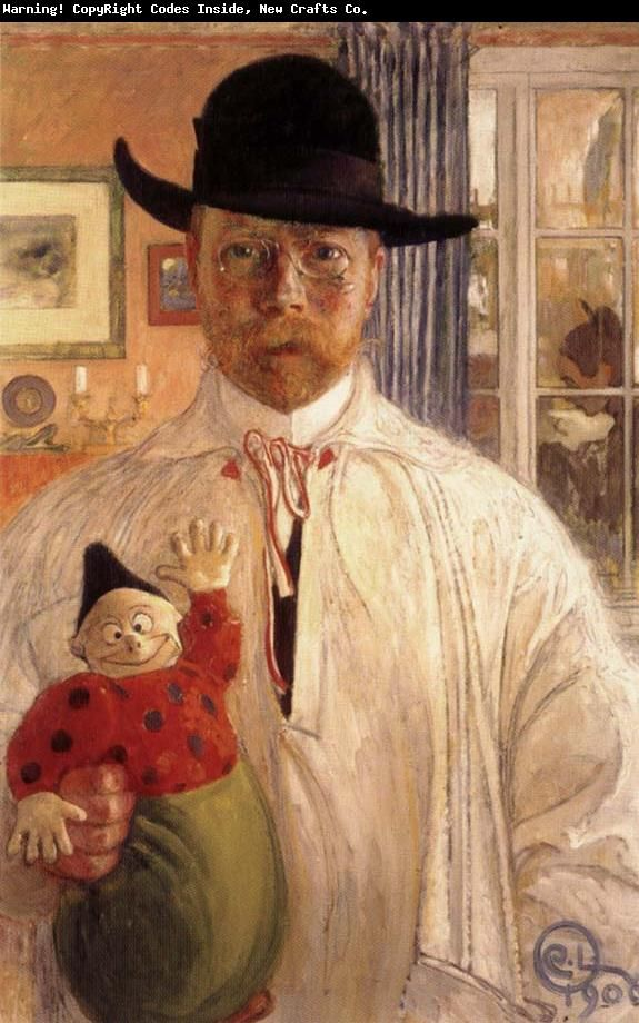 Carl Larsson - Self-Portrait   Swedish painter and interior designer, representative of the Arts and Crafts Movement. His many paintings include oil, watercolors, and frescoes. He considered his finest work to be Midvinterblot (Midwinter Sacrifice), a large wall mural now displayed inside the Swedish National Museum of Fine Arts. (1853-1919). Wikipedia