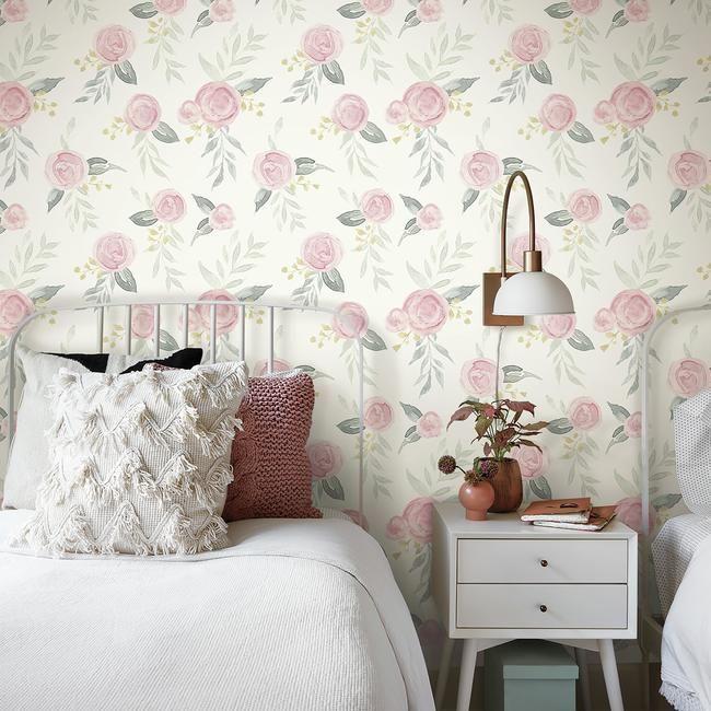 Watercolor Roses Premium Peel And Stick Wallpaper Magnolia Homes Wall Coverings Peel And Stick Wallpaper