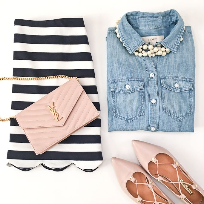 Striped scallop skirt, YSL saint laurent wallet on chain WOC, blush nude lace up flats, chambray shirt, faux pearl triple strand necklace, spring outfit, petite fashion, striped skirt - click the photo for outfit details!