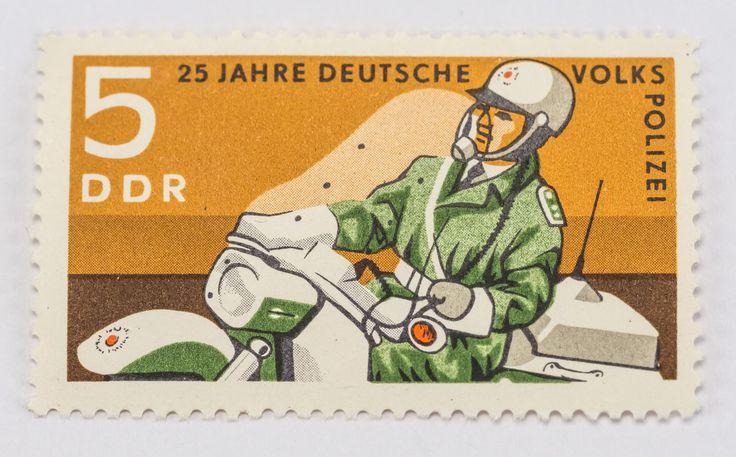 """DDR Museum - Museum: Objektdatenbank - """"Briefmarke Volkspolizei"""" Copyright: DDR Museum, Berlin. Eine kommerzielle Nutzung des Bildes ist nicht erlaubt, but feel free to repin it!"""