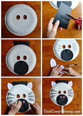 Paper plate cat mask for kids