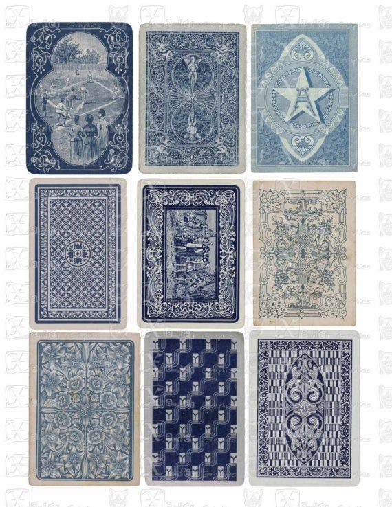 Vintage Playing Cards BLUE Backs - INSTANT DOWNLOAD - 8.5 x 11 inch Printable Digital Collage Sheet with 9 images