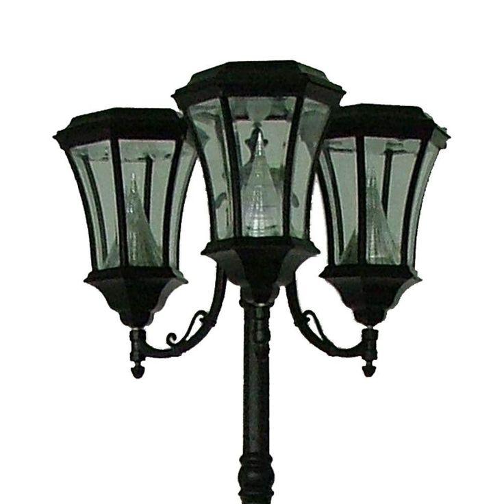 Victorian Solar Light Reviews Part - 40: Outdoor Black Victorian Solar Lamp Post Light With Six Solar LED