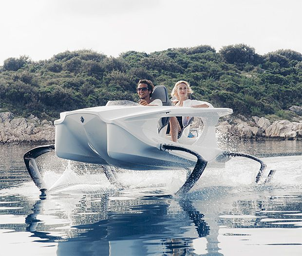 Quadrofoil ....all electric hydrofoiling personal watercraft.   The watercraft comes with an all-electric outboard motor and special steering system, so not a drop of oil goes in the environment. http://www.quadrofoil.com/