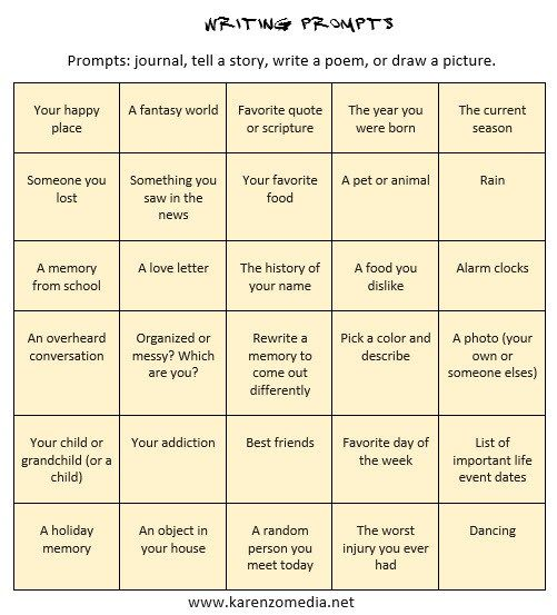 business writing prompts for adults