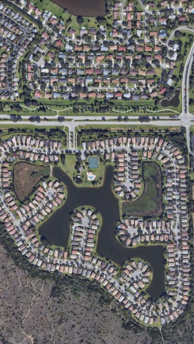 Satelital. From the Air. Parque Miramar,Miami,Florida