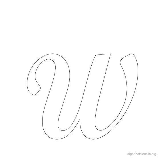 Print Free Alphabet Stencils Cursive W: