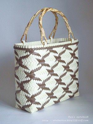 エコクラフト:鶴網代編みのバッグ(鞄):昼と夜                                                                                                                                                                                 もっと見る