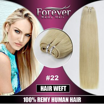 Forever factory 100% remy human double drawn 26 inch cheap curly blonde hand tied brazilian hair weft