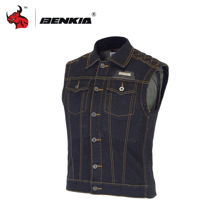 90.00$  Buy now - http://alipv2.shopchina.info/go.php?t=32795452999 - BENKIA Chaleco Reflectante Motocicleta Chaleco Ciclismo Motorcycle Racing Denim Jacket Vest Jean Jacket With Protectors  #aliexpresschina