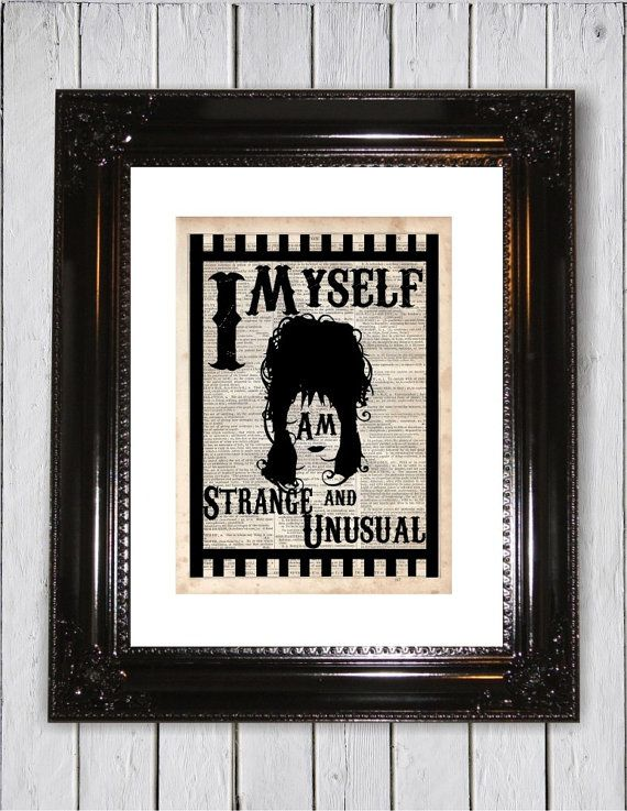 Lydia from Beetlejuice Quote, Dictionary Art Print, Upcycled Book Art, Silhouette, dictionary page Wall Decor, Wall Hanging, Mixed Media Art