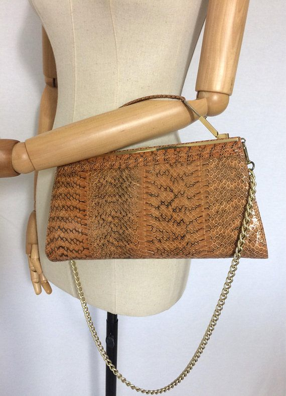 1960 S Vintage Reptile Bag With Mirror Purse Lizard Gift For Her