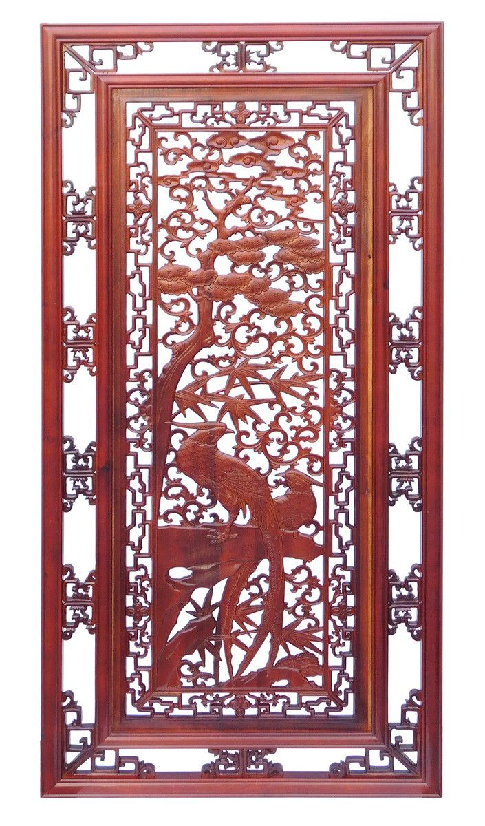 Chinese Oriental Rectangular Vertical Birds Wood Wall Panel cs1362-2S