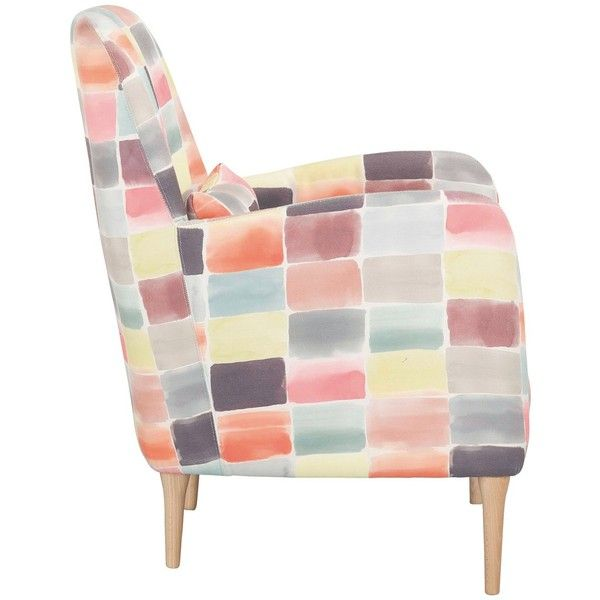 DABORN Multi-coloured patchwork fabric armchair found on Polyvore featuring home, furniture, chairs, accent chairs, fabric accent chairs, patchwork chair, upholstered armchair, upholstered accent chairs and fabric armchair