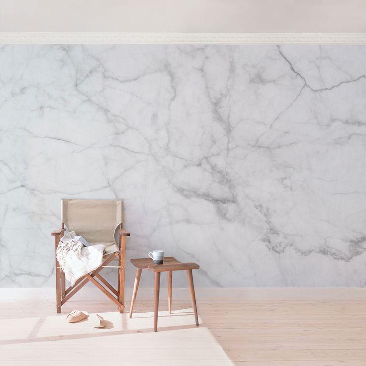 Marmor Tapete   Marmoroptik Weiß Grau   Bianco Carrara   Vlies Wandtapete  Premium Breit