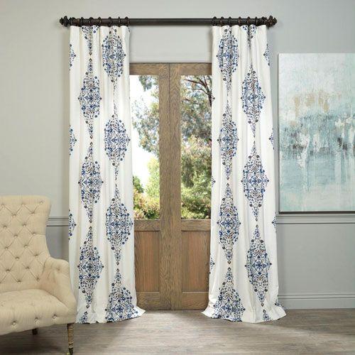 Kerala Blue 96 X 50 Inch Printed Cotton Twill Curtain Single Panel Half Price Drapes Panel