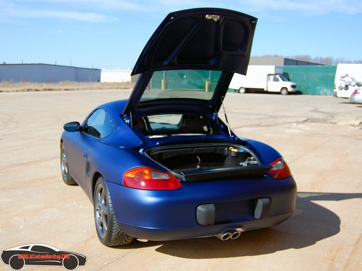 The hardtop allows the trunk of the Porsche Boxster to easily open.