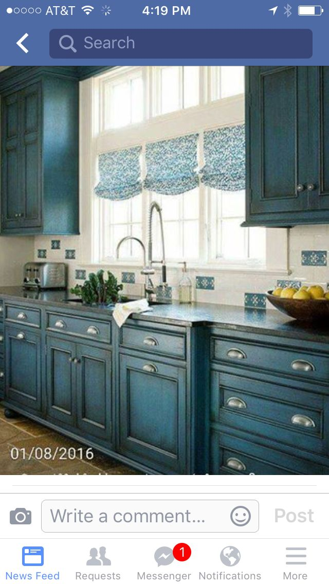 Painted cabinets. Made from chalk paint with Valspar Gypsy Teal and then a dark wax over a clear one.