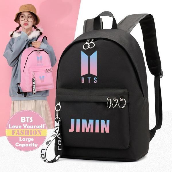 KPOP BTS Logo Couple Black Backpack Bangtan Boys School Shoulder Bag JIMIN V FRR