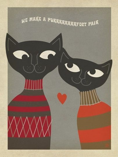 """Cats Purrrfect Pair"" by Anderson Design Group, via @greatbigcanvas"