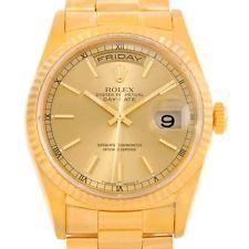 Rolex Presidente Día Fecha Para Hombre Oro Amarillo De 18k Reloj 18238