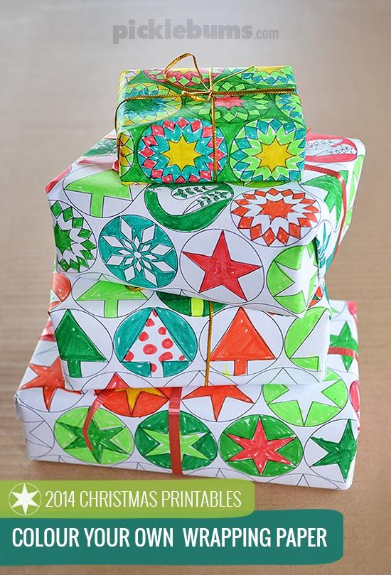 Free printable colour your own Christmas wrapping paper -  colour in your own Christmas gift wrap for totally unique gifts!