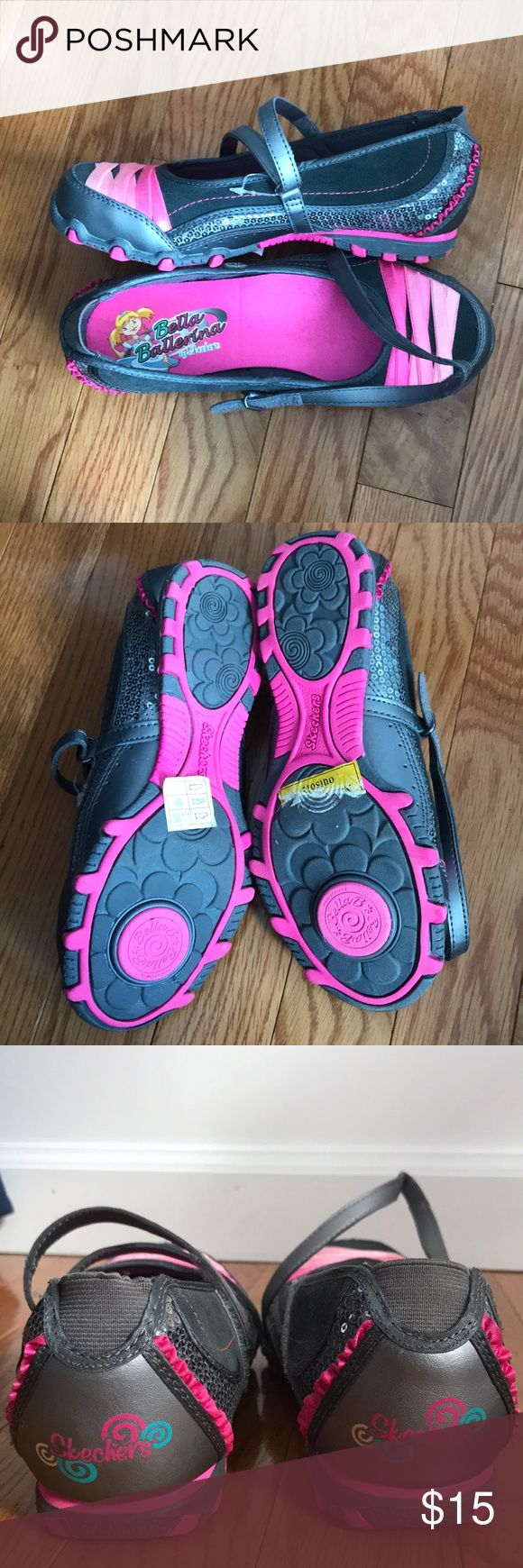 Bella Ballerina by Skechers size US child 3. Grey with pink detailing as well as silver sequins. Rubber turner on the bottom that allows one to spin on any surface! Super cute and sooo much fun!! Skechers Shoes Sneakers