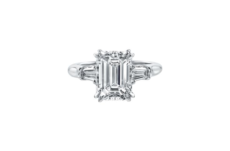Classic Winston™, Emerald-Cut Engagement Ring with Tapered Baguette Side Stones | Harry Winston