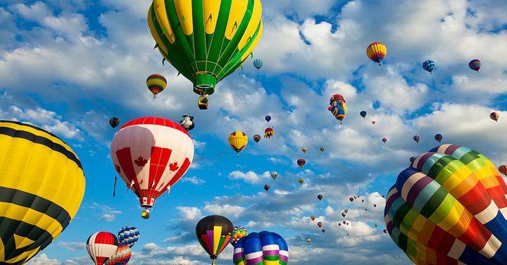 rengarenk sıcak hava balonları