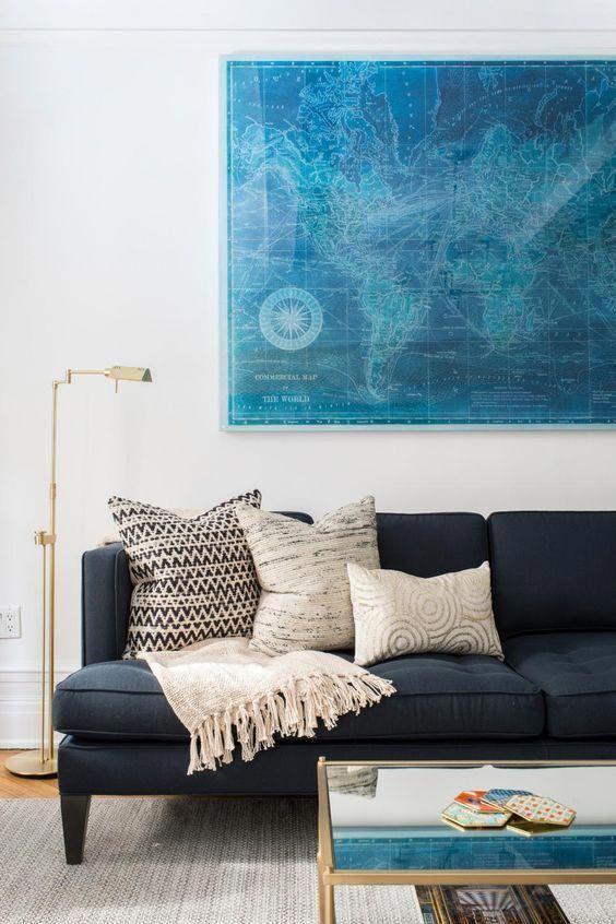 Modern Navy Blue Sofa Design Ideas Pictures Remodel And Decor