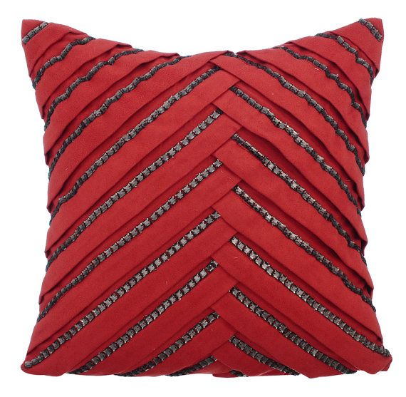 Red Couch Cushion Covers 16 x 16 Pillow Covers Suede Pleated