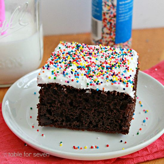 table for seven: Chocolate Pudding Cake with Fluffy White Frosting