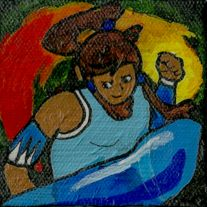 "A+3""+x+3""+mini+canvas+of+Korra+from+Avatar:+The+Legend+of+Korra. This+was+painted+by+hand+and+has+a+glossy+finish."