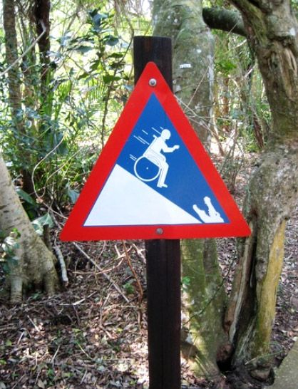Caution: When going down a hill in a wheelchair, don't roll into a crocodile's mouth...