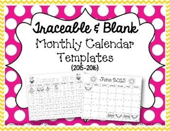 Updated to include all months for 2016! Have your students practice tracing and/or writing their numbers each month with these cute monthly calendars. This is a great way to reinforce patterning skills. You can fold a large piece of construction paper {9x12} in half and glue the calendar to the bottom half.