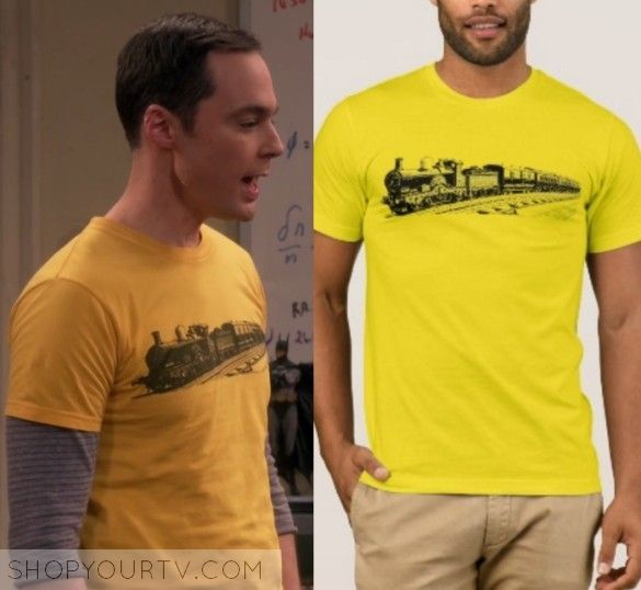 "The Big Bang Theory: Season 10 Episode 20 Sheldon's Train Tee | Sheldon Cooper (Jim Parsons) wears this yellow train printed short sleeve tee in this episode of The Big Bang Theory, ""The Recollection Dissipation"".  It is the Zazzle Locomotive Vintage Steam Railroad Train T-Shirt."