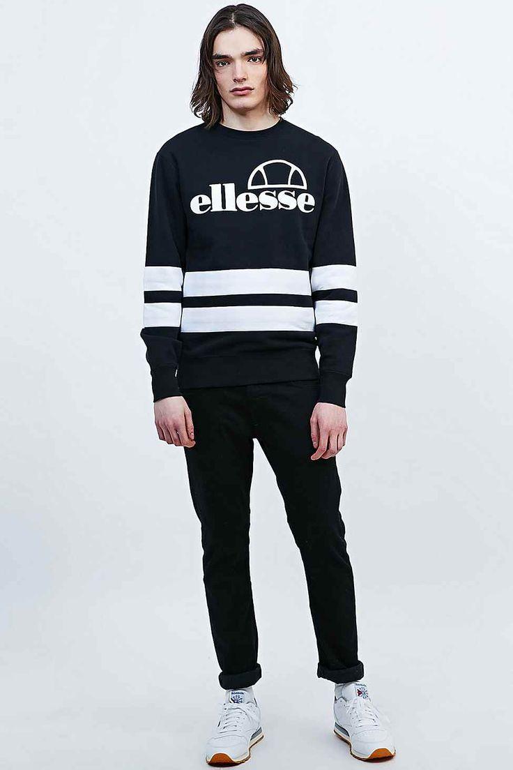Ellesse t shirt white womens - Ellesse Stripe Sweatshirt In Black And White