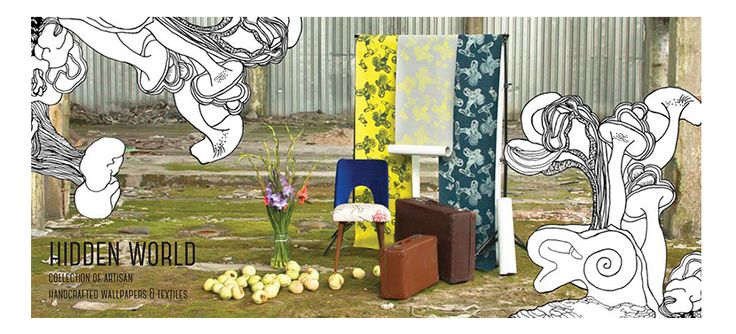 Hidden World / new collection of artisan handcrafted wallpapers and textiles by Justyna Medoń / www.justynamedon.com