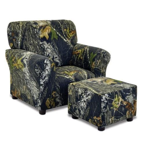 Kidz World Furniture Mossy Oak Camouflage Club Chair and Ottoman Set