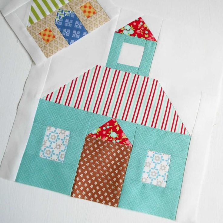 """Pretty Schoolhouse Block.  This is the 12"""" version from the Patchsmith's Schoolhouse block pattern."""