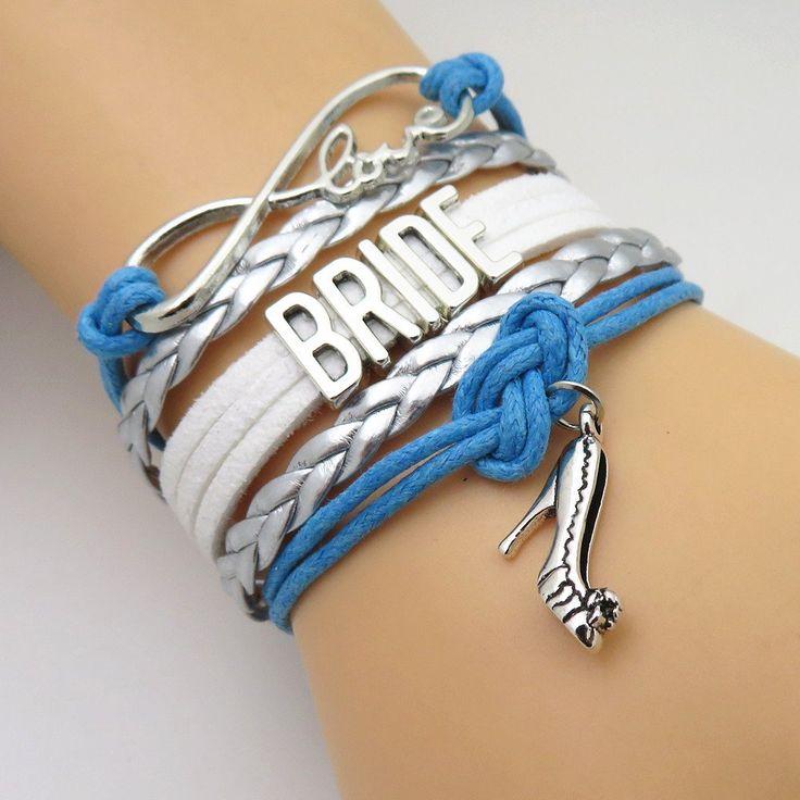 Infinity Love Blue & Silver Wedding Party Bracelets - 50% Off Sale
