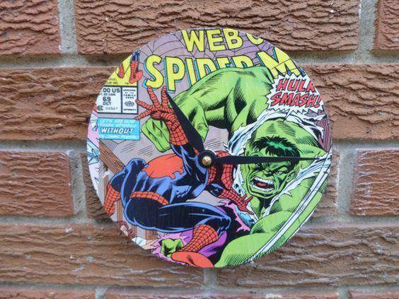 Upcycled magazine and comic book clocks. Use an old 45 record as your base, decoupage on image and add clock hardware (available at Michaels Crafts):