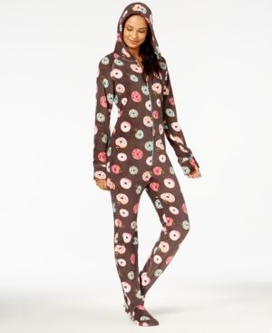 f874a1d4143 Jenni by Jennifer Moore Hooded Footed Printed Pajama Jumpsuit ...
