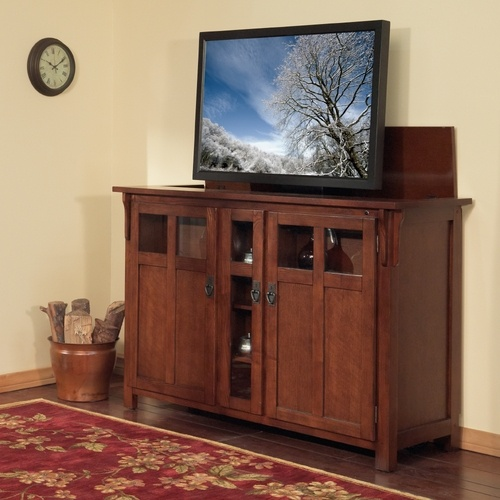 tv lift cabinets for flat screens bungalow chestnut tv lift cabinet for flat screen tvs up 27359