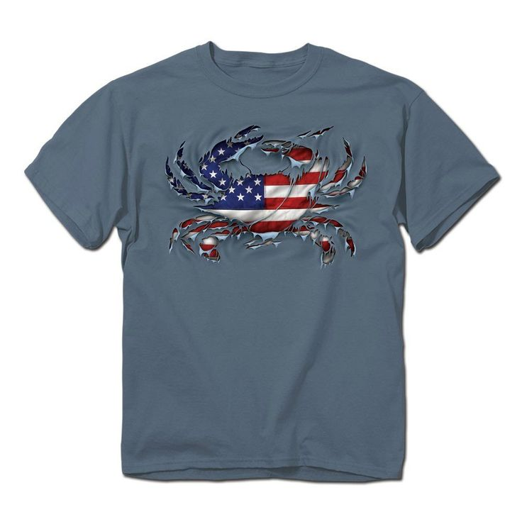 American Flag Blue Claw Crab T-Shirt (XXL) ** Check out the image by visiting the link.