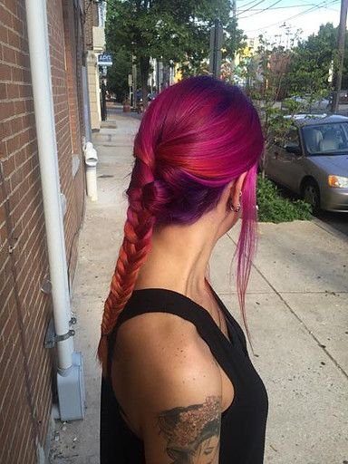 Rebel Rebel Organic Hair and Dreadlock Salon, dreadlock salon philadelphia, pravana vivids philadelphia, pink hair, magenta hair, braid,